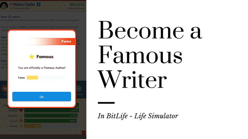 Become a Famous Writer BitLife