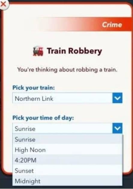 train robbery bitlife